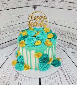 Teal/Gold Birthday Cake