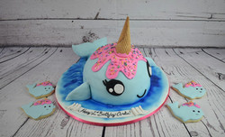 Narwhal Birthday Cake and Cookies