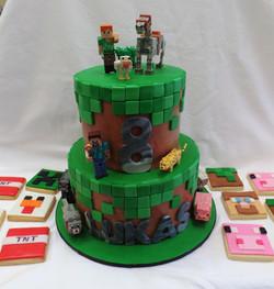 Minecraft Birthday Cake and Cookies