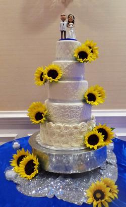 Elegant Sunflower Wedding Cake