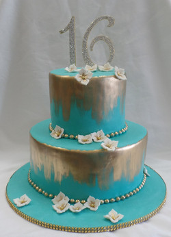 Teal and Gold Birthday Cake