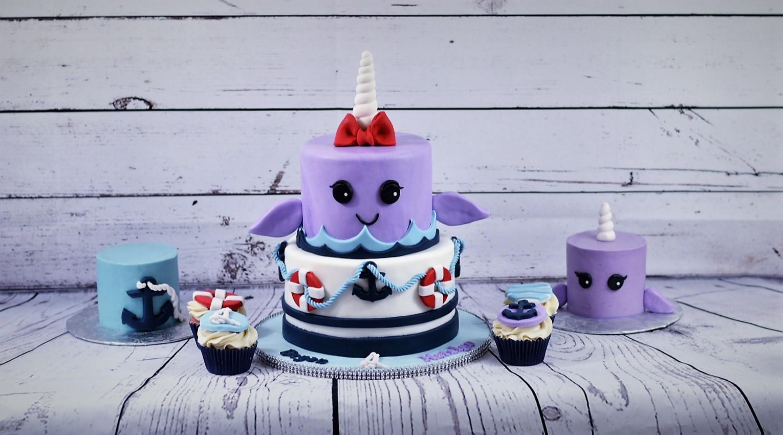 Narwhal Nautical Birthday Cake