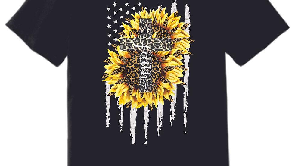 Cross Sunflower Flag Faith