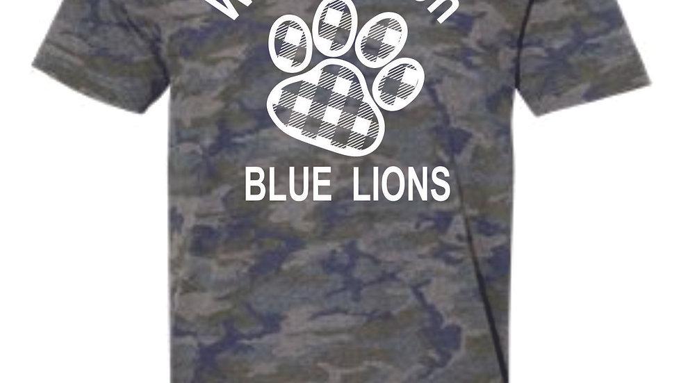 LAT brand unisex soft vintage camo Blue Lions