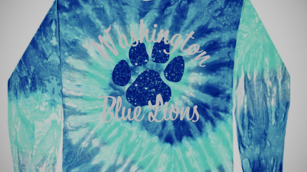 Blue Lion Tie Dye long sleeve tee