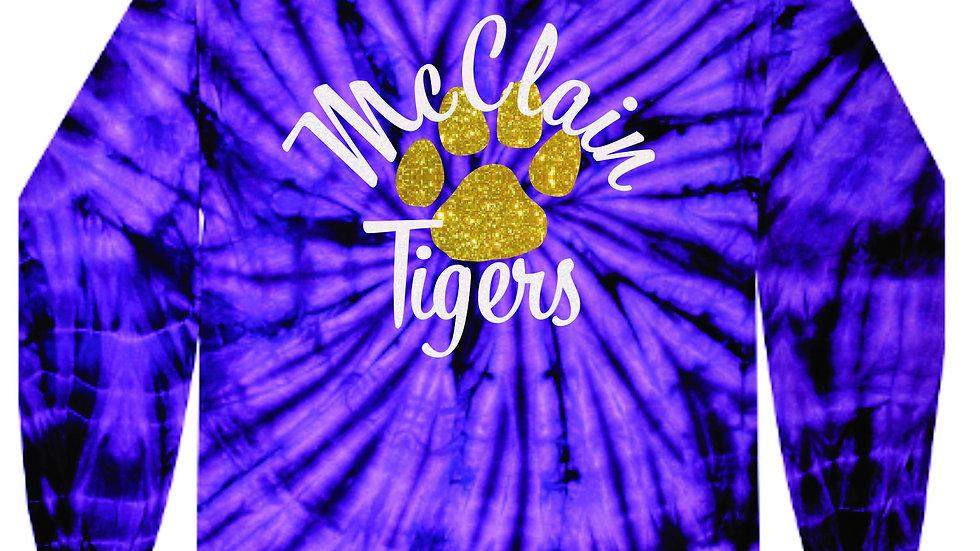 McClain Tigers purple spider tie dye long sleeve tee