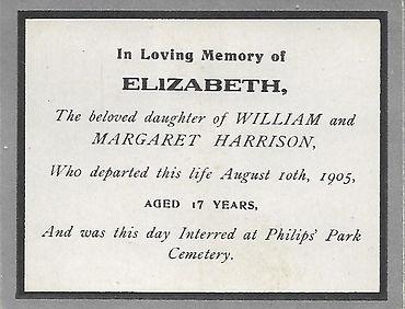ELIZABETH HARRISON 10 AUG 1905 PHILIPS P
