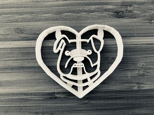 Bulldog in Heart Cookie Cutter