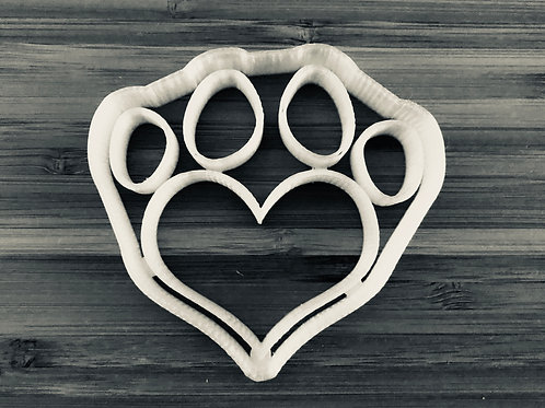 Heart Paw Print Cookie Cutter