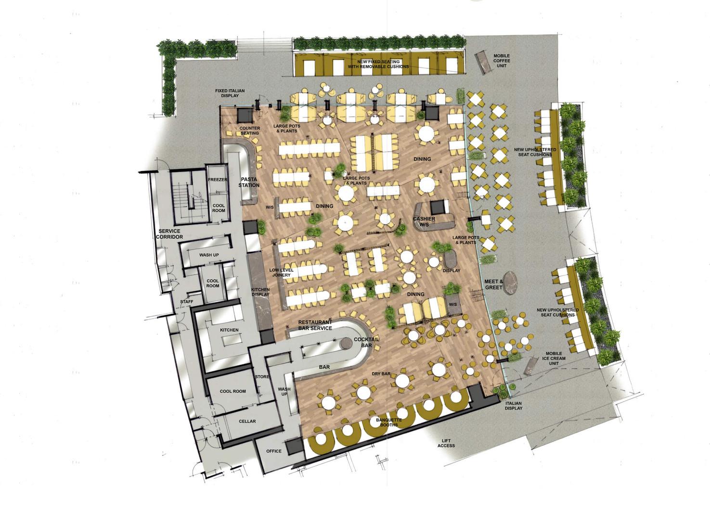 Stacks Taverna Restaurant and Bar Interior Floorplan