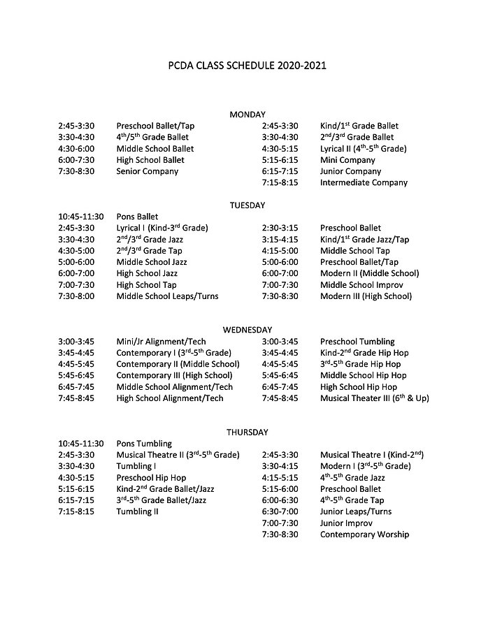 2020-2021 Class Schedule FINAL USE THIS.