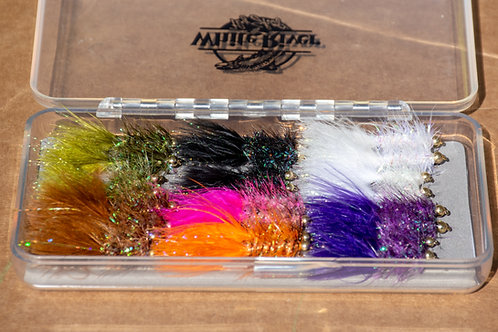 Assortment - 24 Krystal Buggers (sizes 8 and 12) with Fly Box