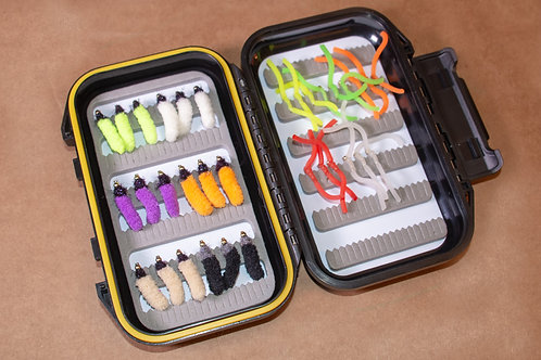Assortment - Mop Flies and Squirmy Wormies 33 Flies Plus Box