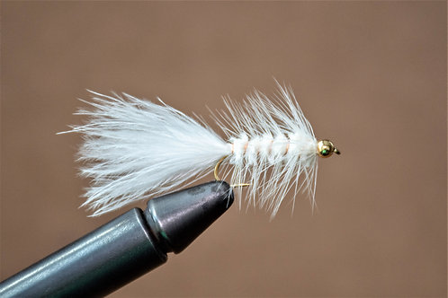 Gold Bead Wooly Bugger White