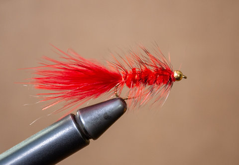 Gold Bead Wooly Bugger - Red