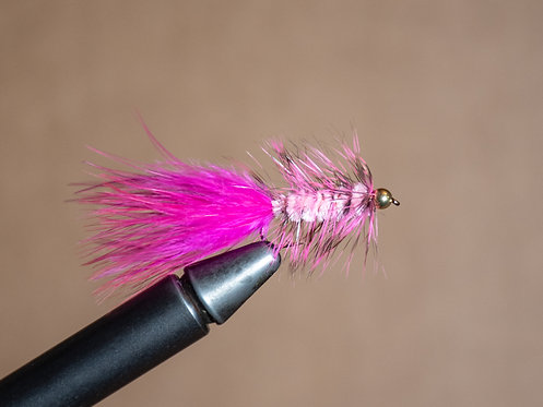 Gold Bead Wooly Bugger - Pink/Hot Pink