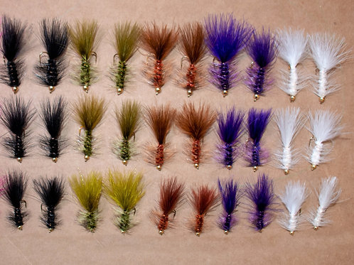 Assortment - 30 Gold Bead Wooly Buggers Sizes 6-10