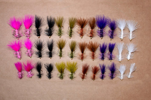 Assortment - 36 Gold Bead Wooly Buggers Sizes 6-10