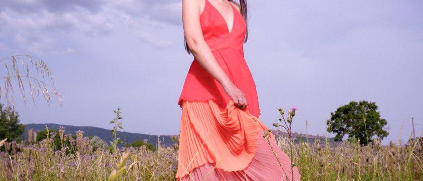 Maxi Dress tricolore plissé