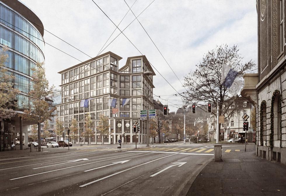 Wir freuen uns über den 1. Rang. Wettbewerb Wohn- und Geschäftshaus am Pilatusplatz, Luzern. (mit Senda Immobilien)