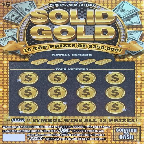 A Chance to Win a pack of (50) Solid Gold Scratch off Tickets
