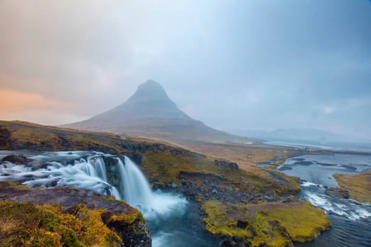 the waterfall and the mountain