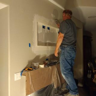 Fejarang job - Fireplace TV Recess- Brad mudding the drywall tape