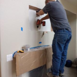 Fejarang job - Fireplace TV Recess (7) - Brad re-installing sheetrock in recess