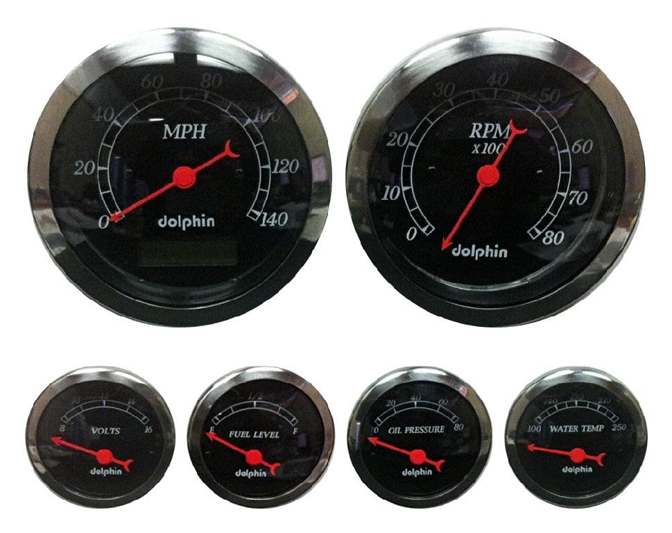 6 gauge sets include: * 140 m p h  electronic speedometer gauge *  temperature gauge and water temperature sending unit for engine