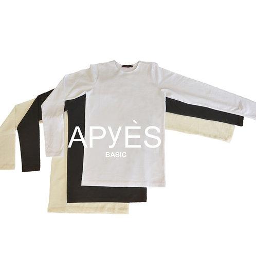 חולצת בסיס שרוול ארוך - כותנה