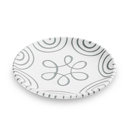 Gmundner Keramik Dessertteller graugeflammt 20 cm