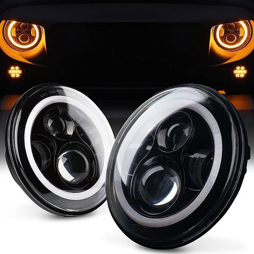 "7"" LED Headlights with White Halo Ring Angel Eyes+Amber Turn Signal"