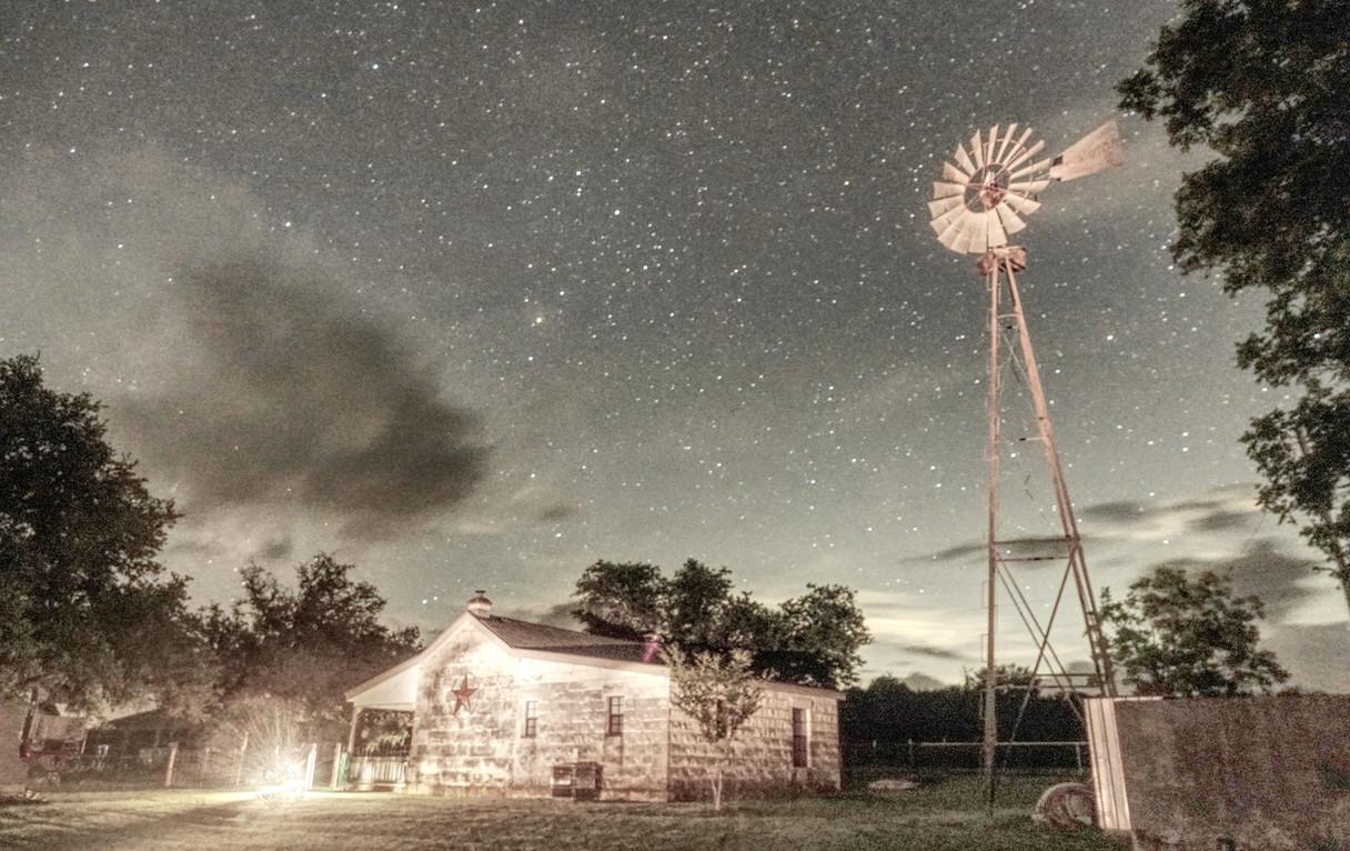 Windmill, Cabin, and Stars