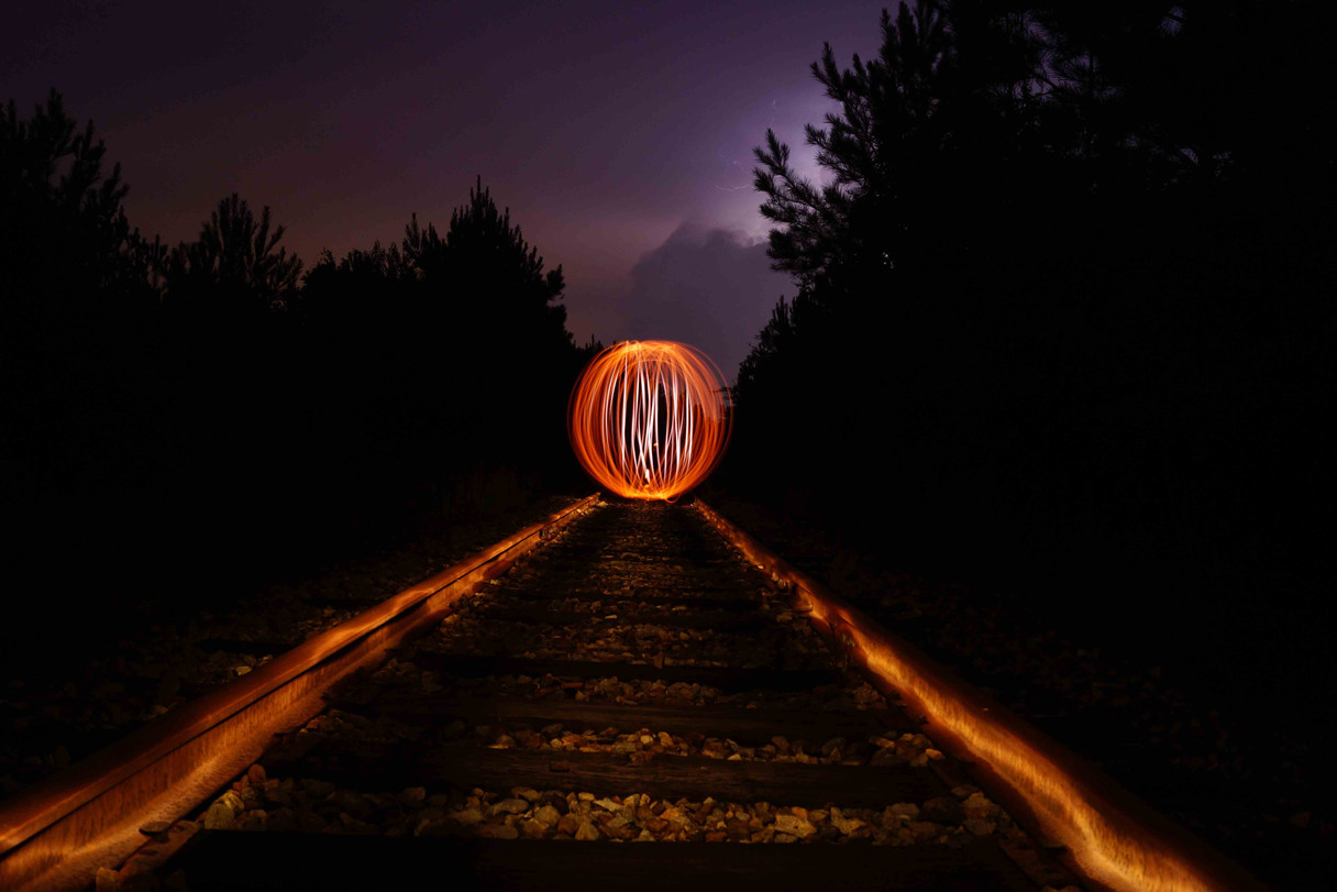 Lightball on Railroad Tracks