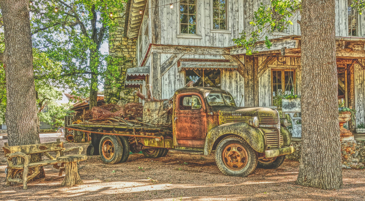 Flat Bed Truck and Old Store