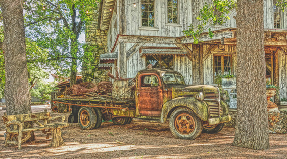 Flat Bed Truck and Old Store filter crop