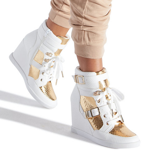 GOLDEN ACCENTED WEDGE SNEAKERS