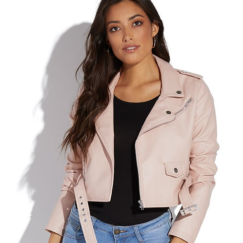 FAUX LEATHER BELTED BOMBER JACKET