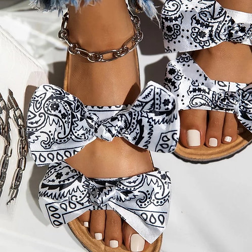 PAISLEY BUTTERFLY-KNOT SANDALS