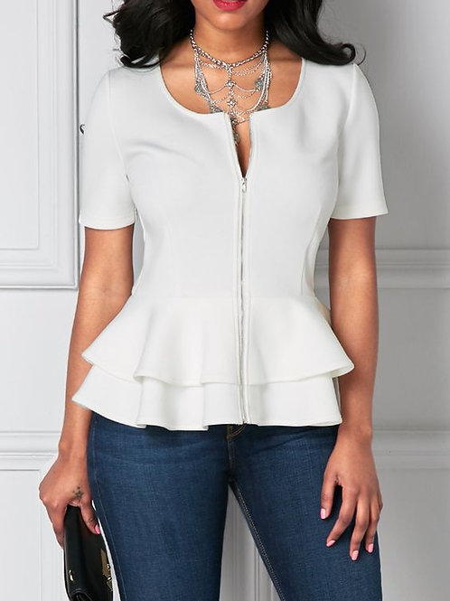 SHORT SLEEVE PEPBLUM BLOUSE W/ ZIPPER