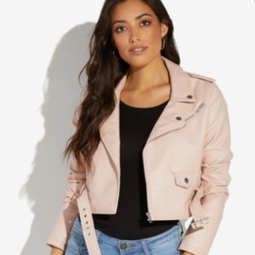 BELTED FAUX LEATHER BOMBER JACKET