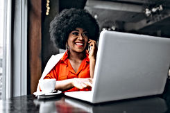 Afro american business woman in white su