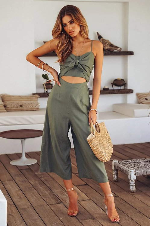 BOW-KNOT BACKLESS WIDE LEG JUMPSUIT