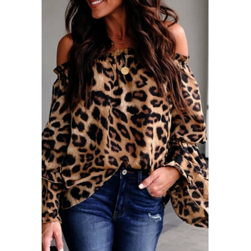 COLD SHOULDER LEOPARD PRINT BLOUSE