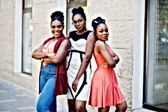 Three stylish african american womans po