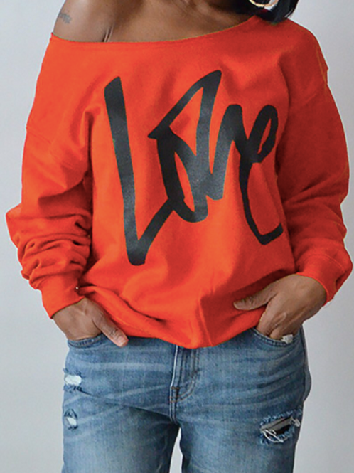 """LOVE"" COLD SHOULDER SWEATSHIRT"