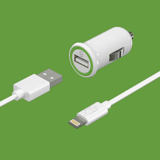 Car Charger + Flat Cable