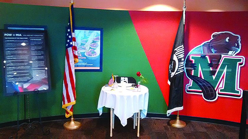The POW/MIA table, on display in the Beaver Creek Cafe, serves as a reminder to students.