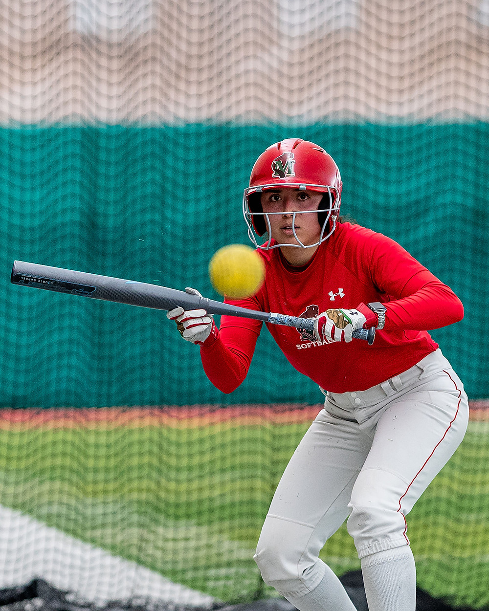 Cabral splits her time between graphic design and softball.