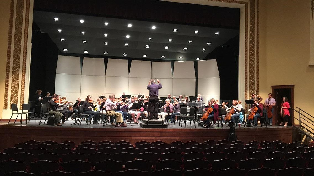 Minot Symphony Orchestra reherses for its first performance of the season in Ann Nicole Nelson Hall